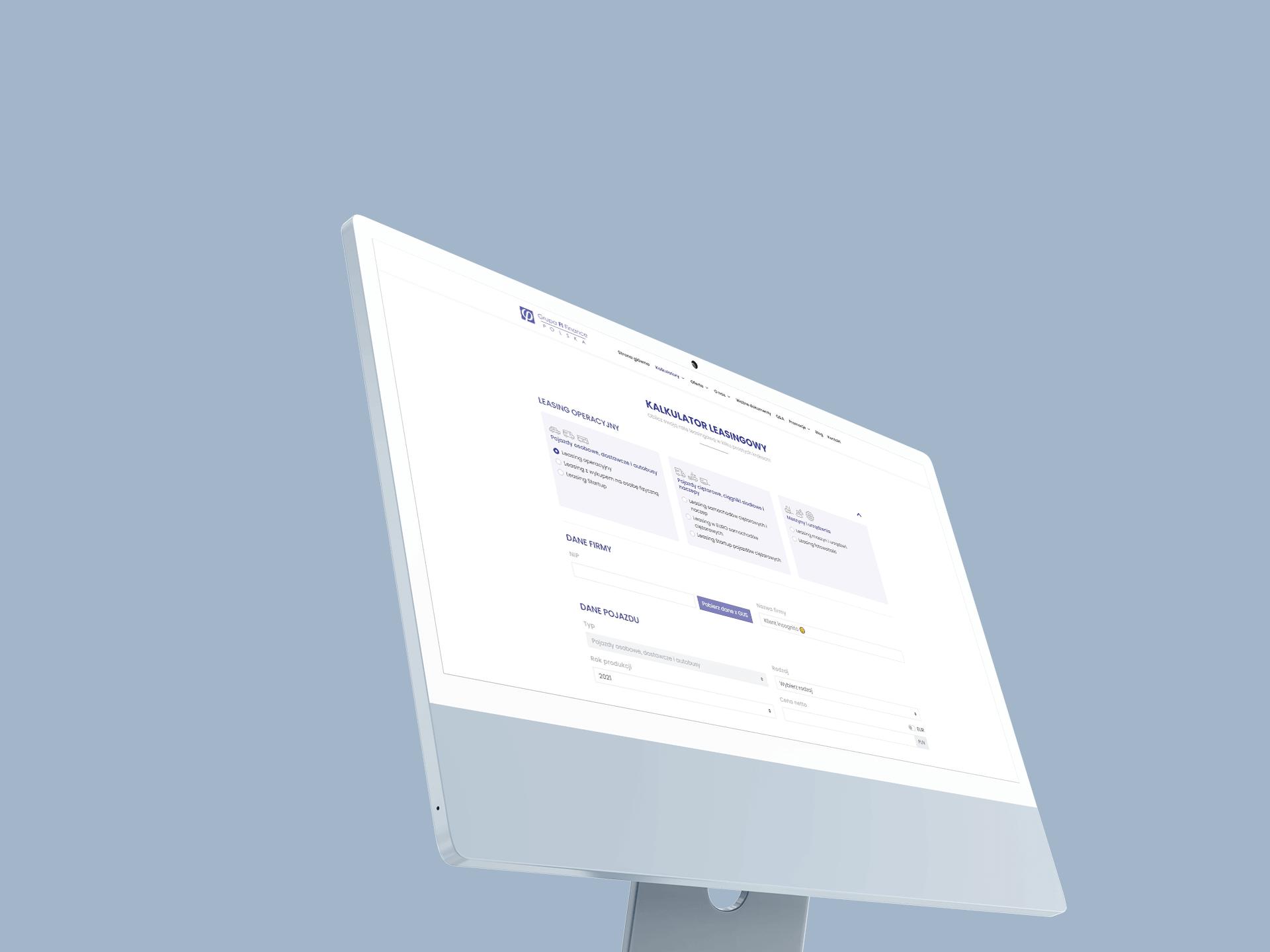 Monitor wyświetlający Kalkulator leasingowy