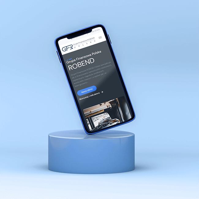 Telefon z widocznym projektem strony internetowej dla Robend