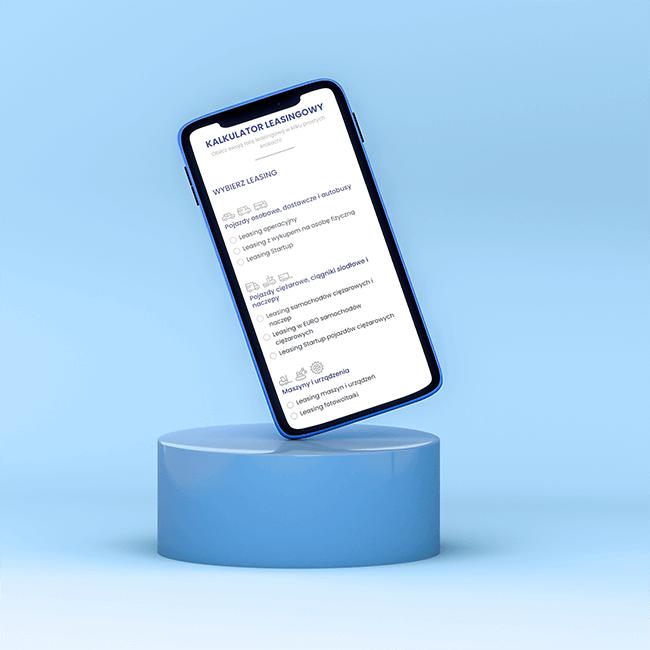 Telefon z widocznym projektem strony internetowej dla Leasing FI